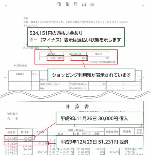 過払い金計算方法 【ニコス】取引履歴