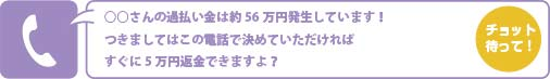 ○○さんの過払い金は約56万円発生しています!つきましてはこの電話で決めていただければすぐに5万円返金できますよ?
