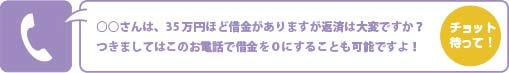 ○○さんは、35万円ほど借金がありますが返済は大変ですか?つきましてはこのお電話で借金を0にすることも可能ですよ!